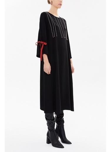 Societa Süs Dikişli Bol Kesim Elbise 92280 Siyah